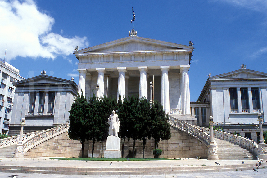 Athens, Greece, Europe, university, The National Library in downtown Athens.