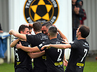 Team Wellington players congratulate Joel Stevens on his goal during the the Oceania Football Championship semifinal (second leg) football match between Team Wellington and AS Magenta at David Farrington Park in Wellington, New Zealand on Sunday, 16 April 2017. Photo: Dave Lintott / lintottphoto.co.nz