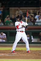 Scottsdale Scorpions second baseman Shed Long (6), of the Cincinnati Reds organization, at bat during an Arizona Fall League game against the Salt River Rafters at Scottsdale Stadium on October 12, 2018 in Scottsdale, Arizona. Scottsdale defeated Salt River 6-2. (Zachary Lucy/Four Seam Images)