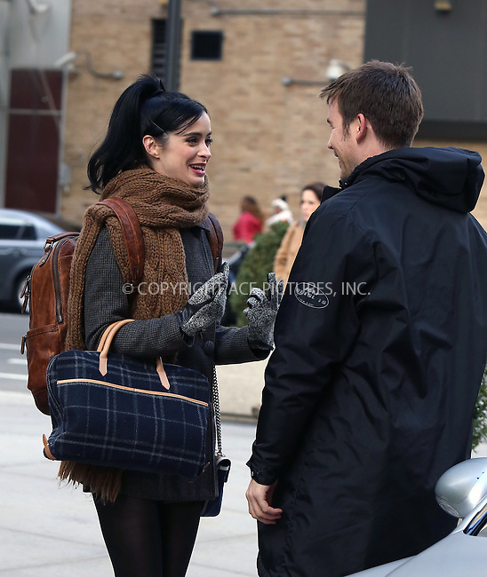 WWW.ACEPIXS.COM....March 26 2013, New York City....Actors Zach Cregger and Krysten Ritter on the set of the new movie 'Assistance' on March 26 2013 in New York City.......By Line: Philip Vaughan/ACE Pictures....ACE Pictures, Inc...tel: 646 769 0430..Email: info@acepixs.com..www.acepixs.com