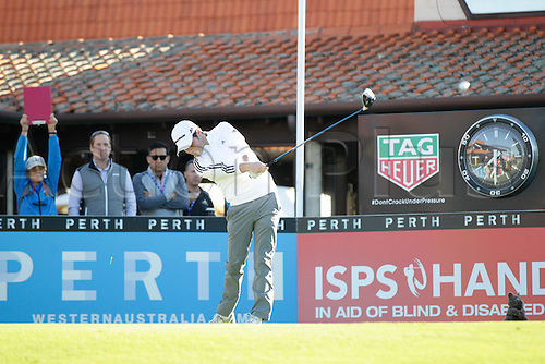 25.02.2016. Perth, Australia. ISPS HANDA Perth International Golf. Cormac Sharvin (IRL) hits his first shot for the tournament on tee 1 day 1.
