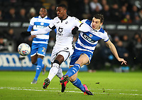 11th February 2020; Liberty Stadium, Swansea, Glamorgan, Wales; English Football League Championship, Swansea City versus Queens Park Rangers; Jordan Hugill of Queens Park Rangers shoots towards goal as Guehi challenges early in the game
