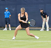 June 10th 2017,  Nottingham, England; WTA Aegon Nottingham Open Tennis Tournament day 1; Backhand from Jana Fett of Croatia on her way to victory in two sets over Alexa Glatch of USA