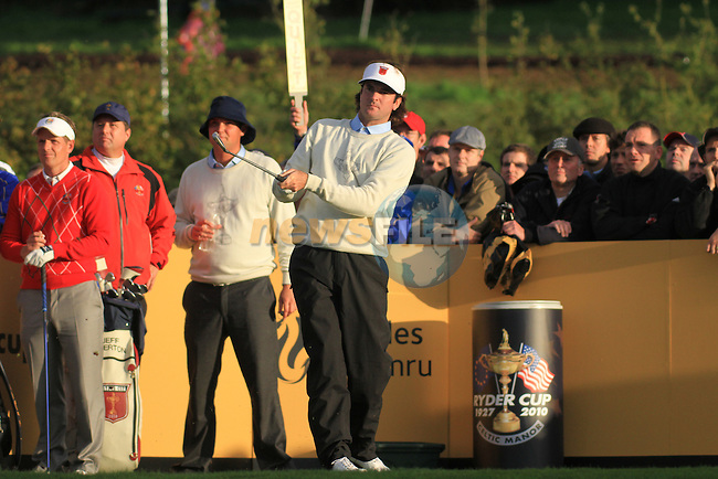 2010 Ryder Cup at the Celtic Manor twenty ten course, Newport Wales, 1/10/2010 on day one of play After play restarted at 5 pm..Bubba Watson teeing off on the 7th..Picture Fran Caffrey/www.golffile.ie.
