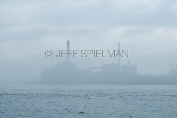Industrial Scene - Electric Power Plant, Brooklyn, Viewed from East River, New York City, New York State, USA