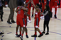 17th January 2019, The O2 Arena, London, England; NBA London Game, Washington Wizards versus New York Knicks; Thomas Bryant of the Washington Wizards celebrates the win with Bradley Beal