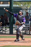 Colorado Rockies catcher Jan Vazquez (61) during a Minor League Spring Training game against the Chicago Cubs at Sloan Park on March 27, 2018 in Mesa, Arizona. (Zachary Lucy/Four Seam Images)