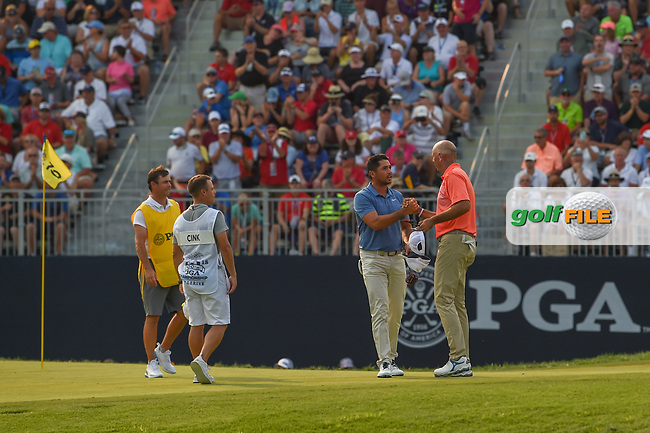 Jason Day (AUS) shakes hands with Stewart Cink (USA) following 4th round of the 100th PGA Championship at Bellerive Country Club, St. Louis, Missouri. 8/12/2018.<br /> Picture: Golffile | Ken Murray<br /> <br /> All photo usage must carry mandatory copyright credit (© Golffile | Ken Murray)