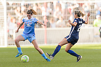 Bridgeview, IL, USA - Sunday, May 29, 2016: Chicago Red Stars defender Arin Gilliland (3) and Sky Blue FC midfielder Shawna Gordon (2) during a regular season National Women's Soccer League match between the Chicago Red Stars and Sky Blue FC at Toyota Park.