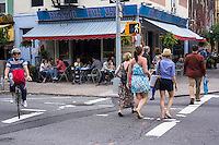 Street activity in tthe trendy hipster Williamsburg neighborhood of Brooklyn in New York on Saturday, June 8, 2013. © Richard B. Levine)