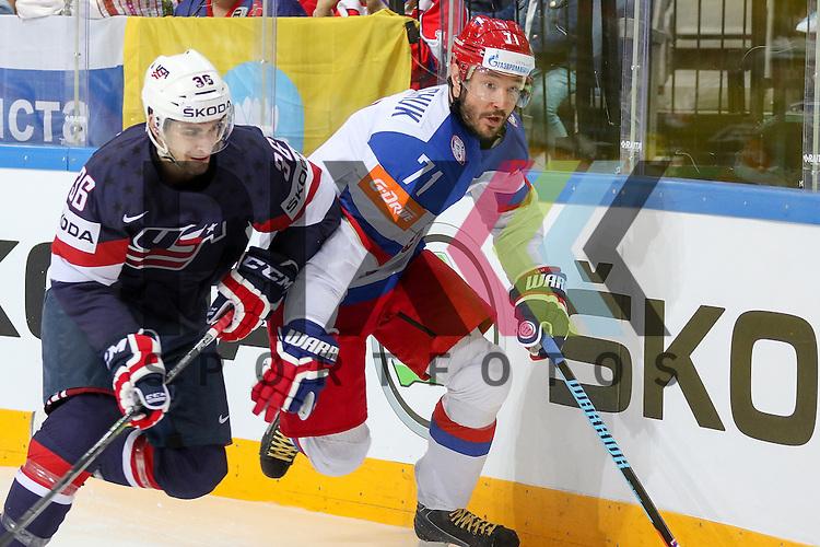 Russlands Kovalchuk, Ilya (Nr.71)(SKA St. Petersburg) im Zweikampf mit USAs Arcobello, Mark (Nr.36)(Arizona Coyotes)  im Spiel IIHF WC15 Russia vs. USA.<br /> <br /> Foto &copy; P-I-X.org *** Foto ist honorarpflichtig! *** Auf Anfrage in hoeherer Qualitaet/Aufloesung. Belegexemplar erbeten. Veroeffentlichung ausschliesslich fuer journalistisch-publizistische Zwecke. For editorial use only.