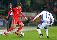 (L-R) David Brooks of Wales against Luis Ovalle of Panama during the international friendly soccer match between Wales and Panama at Cardiff City Stadium, Cardiff, Wales, UK. Tuesday 14 November 2017.