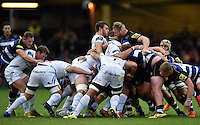 The front rows pop up at a scrum. West Country Challenge Cup match, between Bath Rugby and Exeter Chiefs on October 10, 2015 at the Recreation Ground in Bath, England. Photo by: Patrick Khachfe / Onside Images