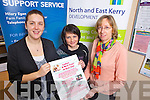 Staff members from NEKD Elaine Kennedy, Hilary Egan(event organiser) and Brenda Clancy promiting their upcoming workshop on well being for the new year this January 31st in the Listowel Family Rescource Centre,