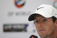 Rory McIlroy (NIR) speaking during the press conference of the DP World Tour Championship, Jumeirah Golf Estates, Dubai, UAE.  17/11/2015.<br /> Picture: Golffile | Fran Caffrey<br /> <br /> <br /> All photo usage must carry mandatory copyright credit (© Golffile | Fran Caffrey)