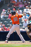 Glynn Davis (10) of the Bowie Baysox at bat against the Richmond Flying Squirrels at The Diamond on May 24, 2015 in Richmond, Virginia.  The Flying Squirrels defeated the Baysox 5-2.  (Brian Westerholt/Four Seam Images)