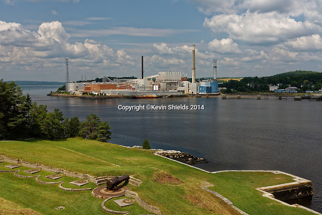 View of the former Verso Paper Mill from Fort Knox State Park, Prospect, Maine, USA