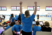 NWA Democrat-Gazette/DAVID GOTTSCHALK Zach Sandlin, a junior at Bentonville High School, celebrates Wednesday, November 6, 2019, as he watches a teammate at the Rogers Bowling Center in Rogers. Sandlin was competing in the two day Special Olympics of Arkansas Area Bowling Competition. Schools from eight districts participated in the competition.