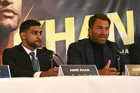 Eddie Hearn (R) speaks during a Press Conference at the Dorchester Hotel on 10th January 2018