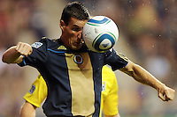 Sebastien Le Toux (9) of the Philadelphia Union heads the ball. The Columbus Crew defeated the Philadelphia Union 2-1 during a Major League Soccer (MLS) match at PPL Park in Chester, PA, on August 05, 2010.