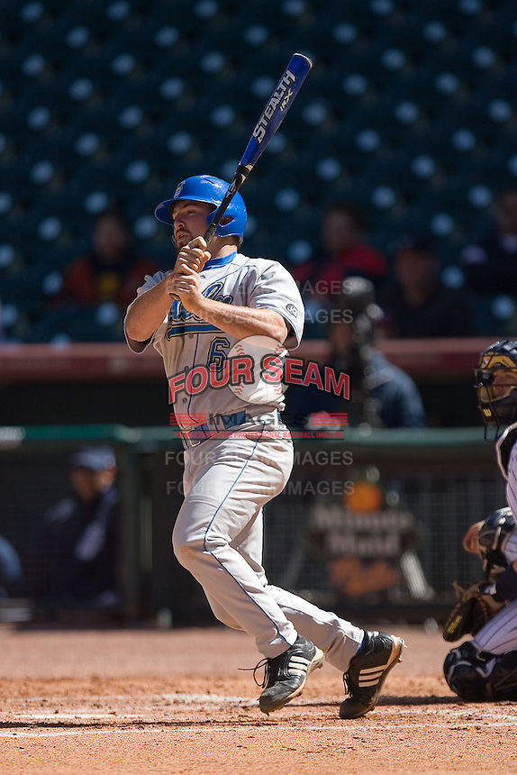 Cody Decker #6 of the UCLA Bruins follows through on his swing versus the UC-Irvine Anteaters in the 2009 Houston College Classic at Minute Maid Park March 1, 2009 in Houston, TX.  The Anteaters defeated the Bruins 7-4. (Photo by Brian Westerholt / Four Seam Images)