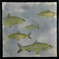Mixed media encaustic photo painting of school of fish.
