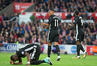 Reactions as Paul Pogba of Man Utd has a shot saved during the Premier League match between Stoke City and Manchester United at the Britannia Stadium, Stoke-on-Trent, England on 9 September 2017. Photo by Andy Rowland.