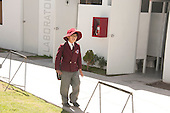 Arequipa, Peru. Hefziba, a parochial (Christian), private school for elementary and secondary school students. Student (boy, Peruvian, elementary-school age) in school uniform and hat walks between buildings at his school. No MR. ID: AL-peru.
