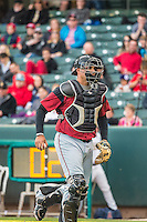 Guillermo Quiroz (6) of the Sacramento River Cats in action against the Salt Lake Bees in Pacific Coast League action at Smith's Ballpark on April 17, 2015 in Salt Lake City, Utah.  (Stephen Smith/Four Seam Images)