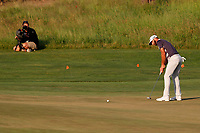 Dustin Johnson (USA) putts on the 18th hole during the third round of the 118th U.S. Open Championship at Shinnecock Hills Golf Club in Southampton, NY, USA. 16th June 2018.<br /> Picture: Golffile | Brian Spurlock<br /> <br /> <br /> All photo usage must carry mandatory copyright credit (&copy; Golffile | Brian Spurlock)