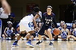 13 November 2016: Penn's Beth Brzozowski (14) and Duke's Kyra Lambert (left). The Duke University Blue Devils hosted the University of Pennsylvania Quakers at Cameron Indoor Stadium in Durham, North Carolina in a 2016-17 NCAA Division I Women's Basketball game. Duke defeated Penn 68-55.
