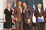 (L-R) Tina Brown, Harry Belafonte, Lawrence Craig, and Jeremy Travis on stage, at the John Jay Justice Award ceremony, April 5 2011.
