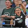 Kevin Brindisi, 10, right, and friend Richard cheer on the New York Jets during the team's annual Green & White practice and scrimmage at MetLife Stadium in East Rutherford, NJ on Saturday, Aug. 5, 2017.