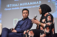 "NEW YORK - APRIL 9: Aasif Mandvi, Actor and Comedian and Ibtihaj Muhammad , U.S. Olympic Medalist, Entrepreneur and Activist attend National Geographic's ""America Inside Out with Katie Couric"" Premiere Screening at the Titus Theater at MOMA on April 9, 2018 in New York City. ""America Inside Out with Katie Couric"", a new six-part documentary series, follows Couric as she travels the country to talk with the people bearing witness to the most complicated and consequential questions in American culture today. The weekly series premieres Wednesday, April 11, 2018, at 10/9c and will air globally on National Geographic.(Photo by Anthony Behar/National Geographic/PictureGroup)"