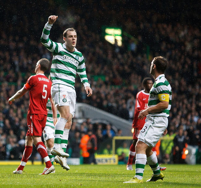 Anthony Stokes celebrates as he scores the opening goal for Celtic from the Penalty spot