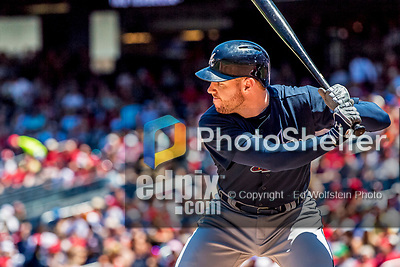 9 July 2017: Atlanta Braves third baseman Freddie Freeman in action against the Washington Nationals at Nationals Park in Washington, DC. The Nationals defeated the Braves to split their 4-game series. Mandatory Credit: Ed Wolfstein Photo *** RAW (NEF) Image File Available ***