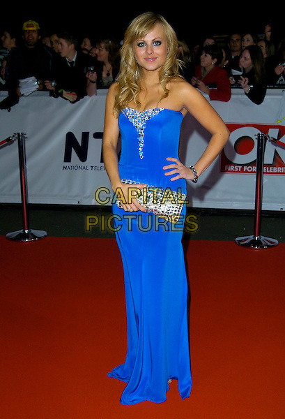 TINA O'BRIEN.The National Television Awards, Royal Albert Hall, London, England..October 31st, 2007.TV NTA full length blue strapless dress jewel encrusted silver clutch purse bag hand on hip.CAP/CAN.© Can Nguyen/Capital Pictures