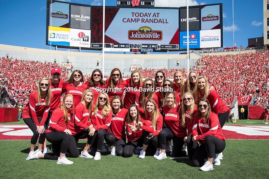 Wisconsin Badgers women's hockey team during an NCAA college football game against the Georgia State Panthers Saturday, September 17, 2016, in Madison, Wis. The Badgers won 23-17. (Photo by David Stluka)