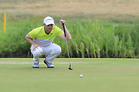 Philipp Mejow (GER) on the 17th green during Saturday's Round 3 of the Porsche European Open 2018 held at Green Eagle Golf Courses, Hamburg Germany. 28th July 2018.<br /> Picture: Eoin Clarke | Golffile<br /> <br /> <br /> All photos usage must carry mandatory copyright credit (&copy; Golffile | Eoin Clarke)