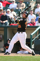 April 17th, 2008:  Brian Buscher (32) of the Rochester Red Wings, Class-AAA affiliate of the Minnesota Twins, at bat during a game at Frontier Field in Rochester, NY.  Photo by:  Mike Janes/Four Seam Images