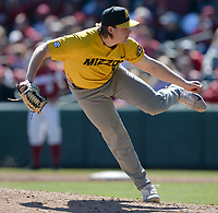 NWA Democrat-Gazette/ANDY SHUPE<br /> Missouri starter TJ Sikkema delivers to the plate Saturday, March 16, 2019, during the third inning at Baum-Walker Stadium in Fayetteville. Visit nwadg.com/photos to see more photographs from the game.