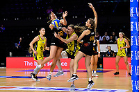 Central Manawa's Rochelle Fourie and Waikato Bay of Plenty's Greer Sinclair in action during the Beko Netball League - Central Manawa v Waikato Bay of Plenty at TSB Bank Arena, Wellington, New Zealand on Sunday 21 April 2019. <br /> Photo by Masanori Udagawa. <br /> www.photowellington.photoshelter.com