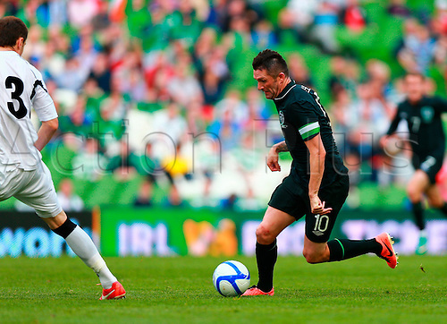 02.06.2013 Dublin, Ireland.  Robbie Keane (Rep. of Ireland) breaks in to the box during the International friendly game between the Rep. of Ireland and Georgia from the Aviva Stadium.