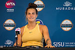 August 4, 2019: Aryna Sabalenka (BLR) addresses the media after she was defeated by Saisai Zheng (CHN) 6-3, 7-6 in the finals of the Mubadala Silicon Valley Classic at San Jose State in San Jose, California. ©Mal Taam/TennisClix/CSM