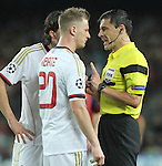 06.11.2013 Barcelona, Spain. Uefa Champions League Matchday 4 group H. Picture show Ignazio Abate (L) and Milorad Mazic (R)i in action during game between FC Barcelona against AC Milan at Camp Nou