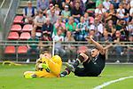 11.08.2019, Stadion Lohmühle, Luebeck, GER, DFB-Pokal, 1. Runde VFB Lübeck vs 1.FC St. Pauli<br /> <br /> DFB REGULATIONS PROHIBIT ANY USE OF PHOTOGRAPHS AS IMAGE SEQUENCES AND/OR QUASI-VIDEO.<br /> <br /> im Bild / picture shows<br /> Dimitrios Diamantakos (FC St. Pauli) foult Torwart Lukas Raeder (VfB Luebeck).<br /> <br /> Foto © nordphoto / Freund