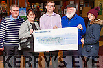 Benny Thade McCarthy from Duagh  with a cheque (&euro;300) made out to West Limerick Radio 102 from the proceeds of the Rambling House opening night which was held one month ago in Fr. Casey's clubhouse , last Thursday's Rambling House held in Fr. Casey's clubhouse Abbeyfeale was for The Hope Foundation .<br /> L-R Michael (Brother) Ann (Mother) Benny Thade,  Gabe (Father), Julieanne ( Sister) ( All living in Duagh)