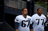 July 26, 2018: New England Patriots offensive lineman Ulrick John (67) heads to practice at the New England Patriots training camp held on the practice fields at Gillette Stadium, in Foxborough, Massachusetts. Eric Canha/CSM