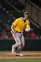 AZL Athletics second baseman Nick Ward (4) starts down the first base line during an Arizona League game against the AZL Angels at Tempe Diablo Stadium on June 26, 2018 in Tempe, Arizona. The AZL Athletics defeated the AZL Angels 7-1. (Zachary Lucy/Four Seam Images)