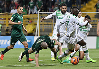 BOGOTÁ -COLOMBIA, 29-04-2017: Mauricio Restrepo (Izq) y Andres Correa (centro Izq) de La Equidad disputan el balón con Andres Perez (centro Der) and Miguel Murillo (Der) de Deportivo Cali durante partido por la fecha 15 de la Liga Águila I 2017 jugado en el estadio Metropolitano de Techo de la ciudad de Bogotá. / Mauricio Restrepo (L) and Andres Correa (center L) players of La Equidad fight for the ball with Andres Perez (center R) and Miguel Murillo (R) player of Deportivo Cali during the match for the date 15 of the Aguila League I 2017 played at Metropolitano de Techo stadium in Bogotá city. Photo: VizzorImage/ Gabriel Aponte / Staff